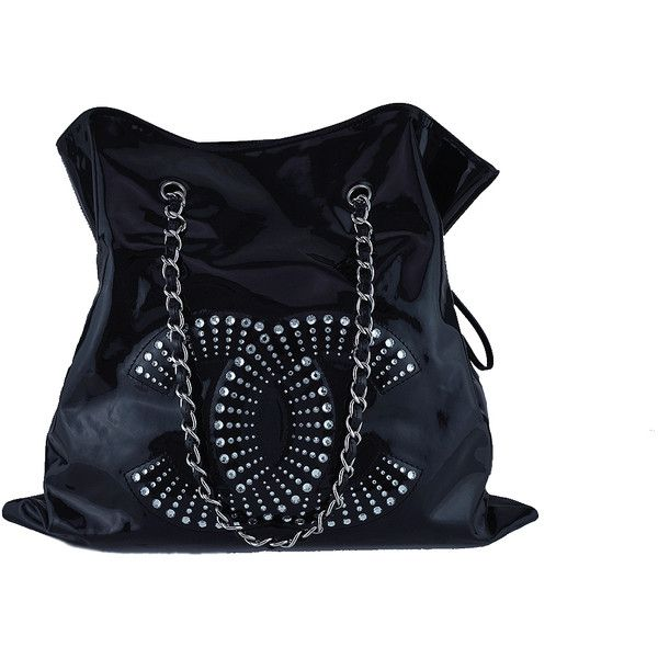 dcdcffd90896 Pre-Owned Chanel Black Patent Lambskin Strass Crystals Bon Bons Tote...  ($2,099) ❤ liked on Polyvore featuring bags, handbags, tote bags, black, ...