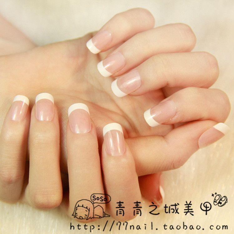 Full Cover Artificial Nails 24PCS Nep Nagels Fake Nails Short Unas ...