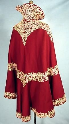 C 1898 1900 Cranberryburgundy Wool Soutache Winter Cape With High