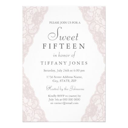 pretty pink vintage lace sweet 15 invitation in 2018 birthday
