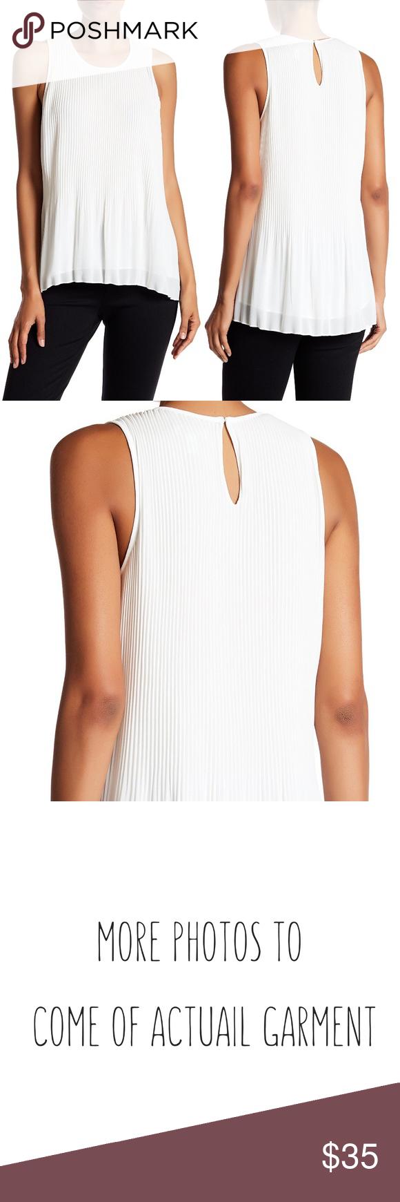 Susina sleeveless pleated chiffon blouse white nwt in my