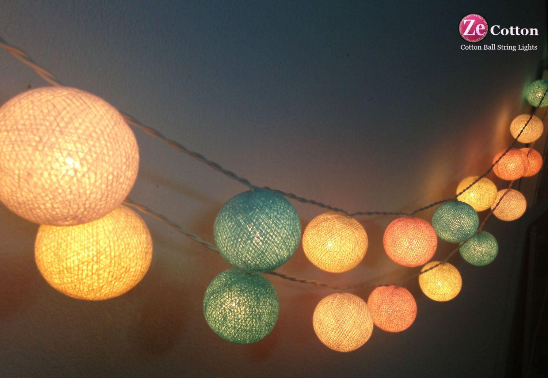 PASTEL BALL COTTON EVENTS STRING PARTY WEDDING LIGHTS DECOR FAIRY PATIO GARDEN
