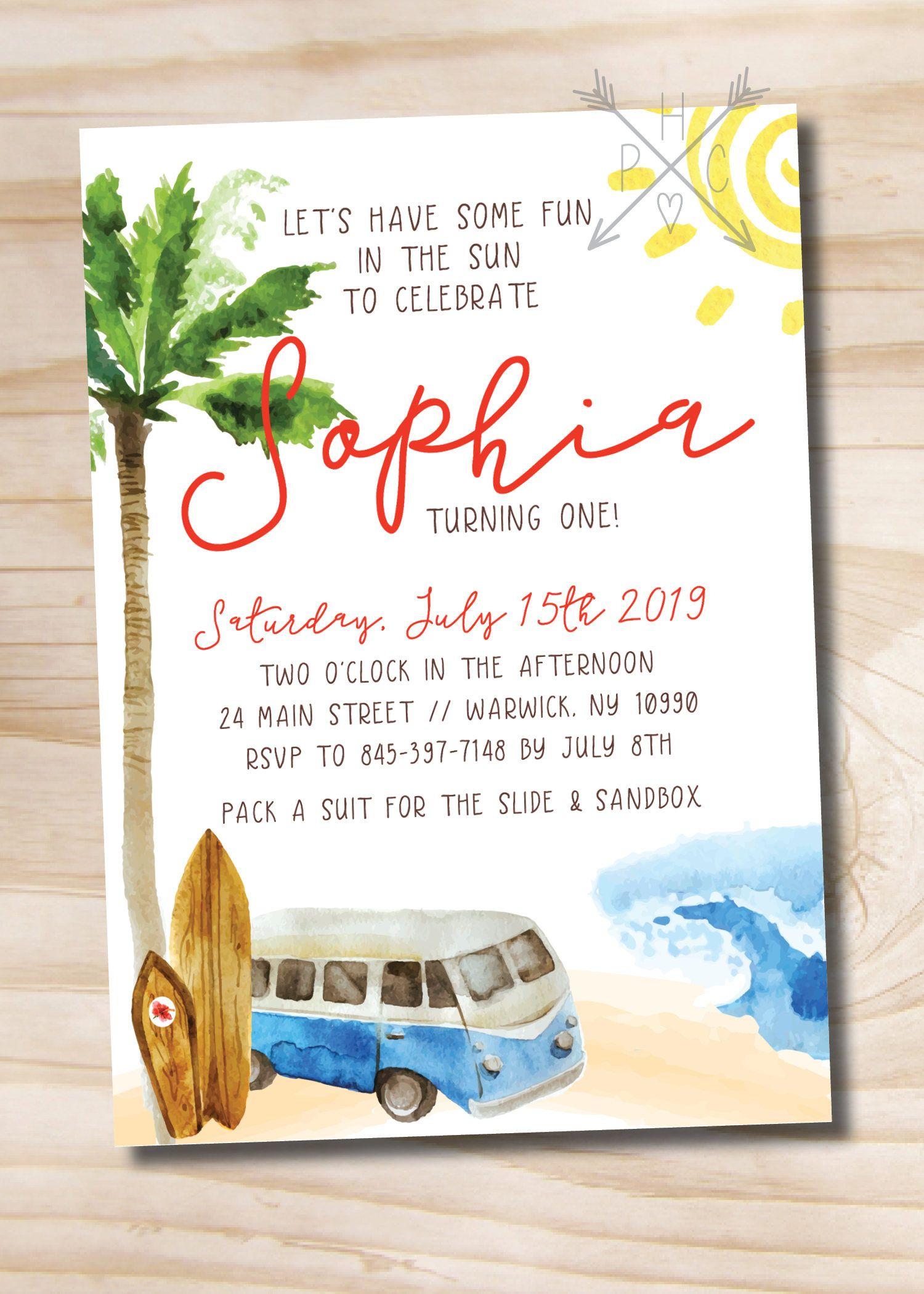 Beach Party Invitation - Watercolor Vintage Beach Birthday ...