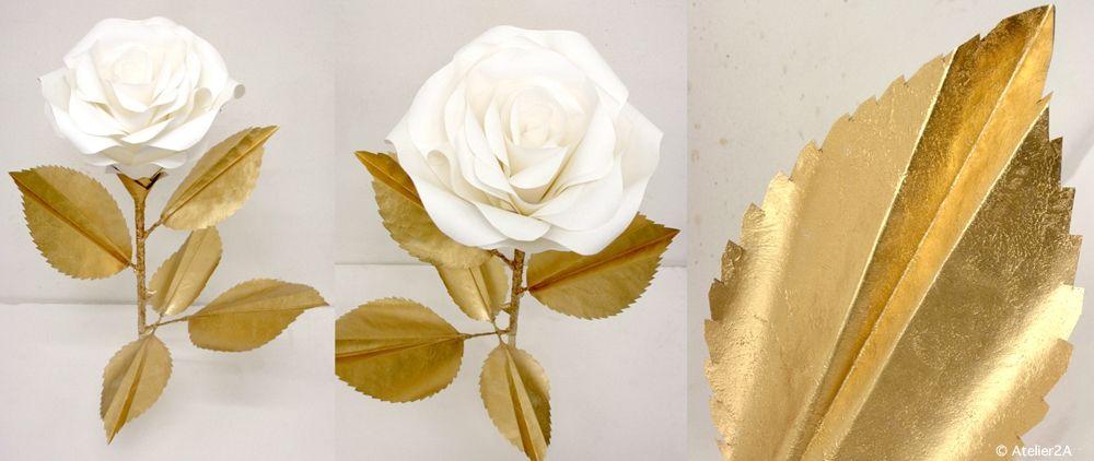 Fleurs En Papier Pour Mariage #9: Création De Fleurs Géantes En Papier (roses) Or Et Blanc Pour La Décoration  Du0027un Espace Parfumerie / Giant Paper Flower. - / Objets Uniques Et En  Série, ...