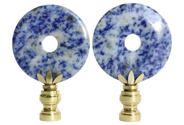Cobalt Sodalite Lamp Finials Pair Lamp Finial Lamp Finials