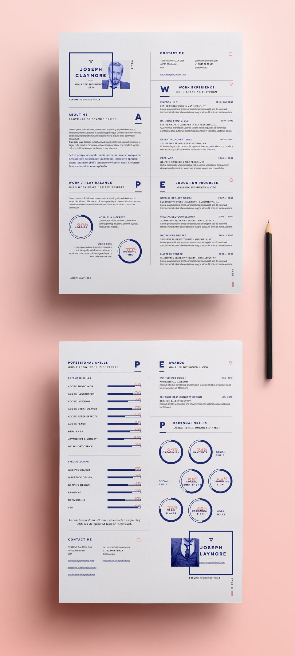 simple resume template vol6 resumes templates pixeden resume