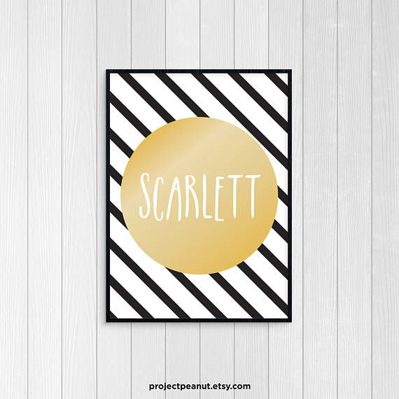 Name Wall Art - Printable Wall Decor - Nursery Prints - Gold ...