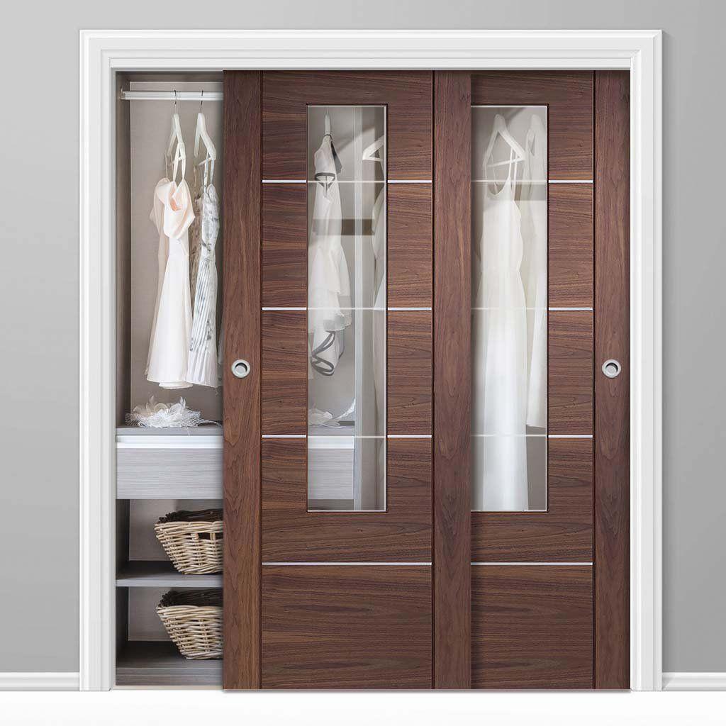 Bespoke Thruslide Portici Walnut Glazed 2 Door Wardrobe And Frame