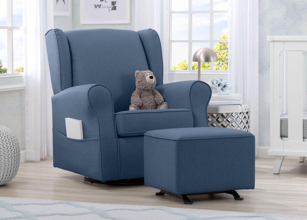 Delta Children Sailor Blue 424 Reston Nursery Glider Swivel Rocker Chair W512310 Room A1a