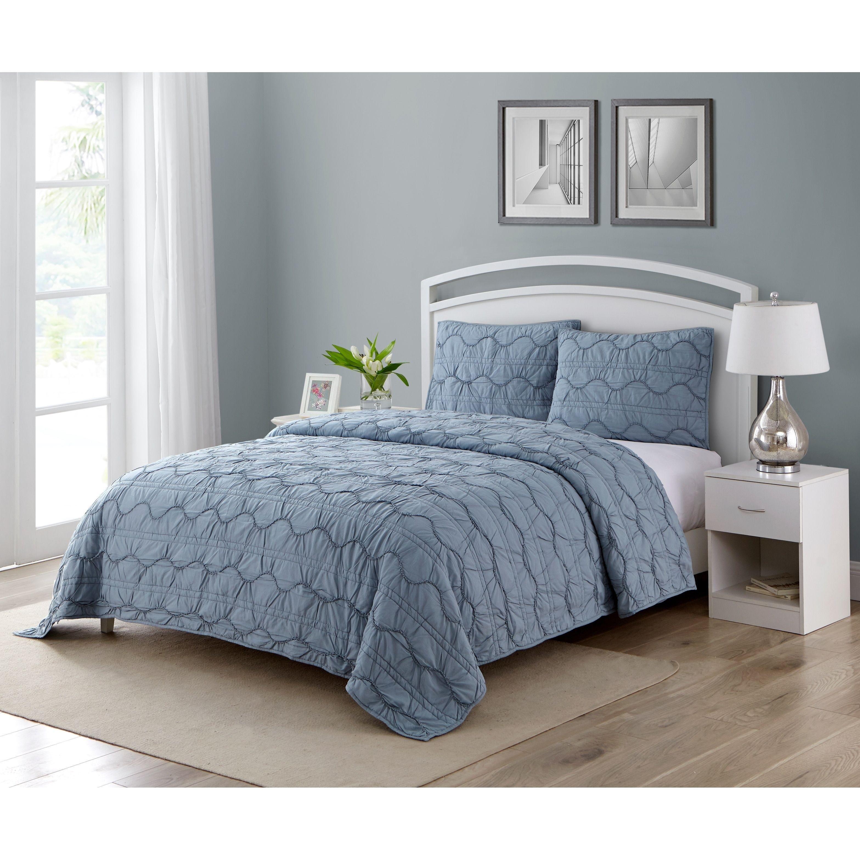 2 Persoonsbed Modern.Wonder Home Caesare 3 Piece Cotton Texture Quilt Set Blue Modern