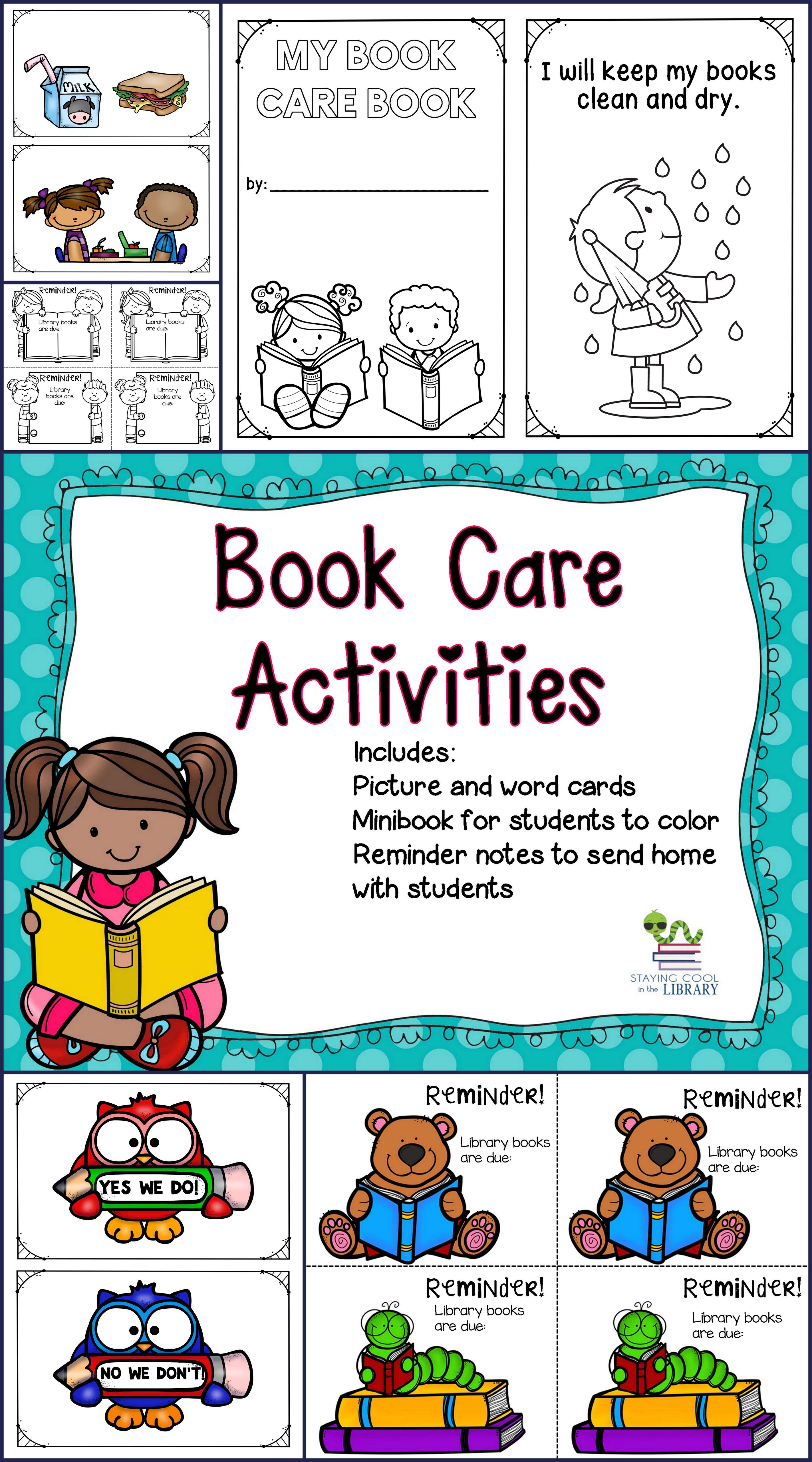 Book Care Activities And Reminder Notes Book Care Classroom
