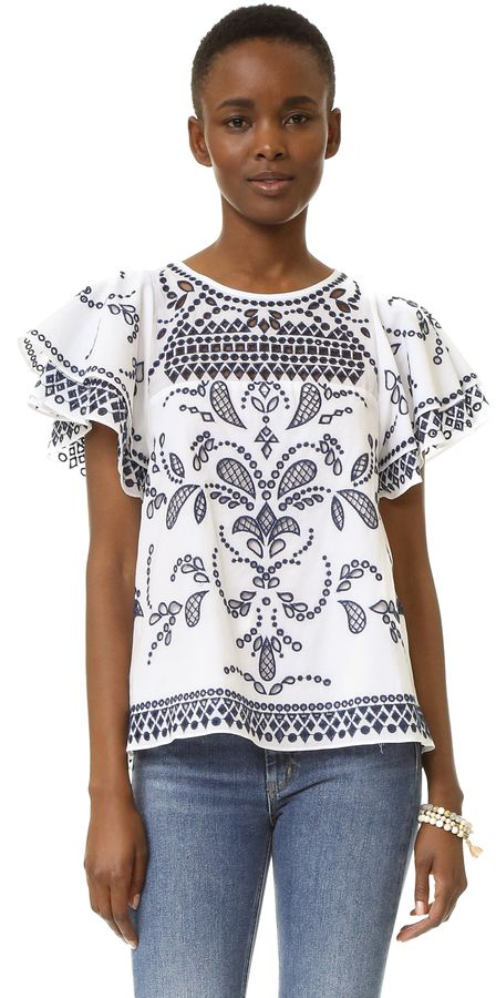 88641cc6244 Eyelet embroidery top with a beautiful pattern. Parker Mara Top ...