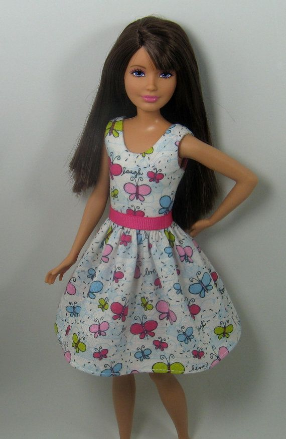 DOLL CLOTHES  BARBIE PAJAMAS SET LITTLE BUTTERFLY PRINT