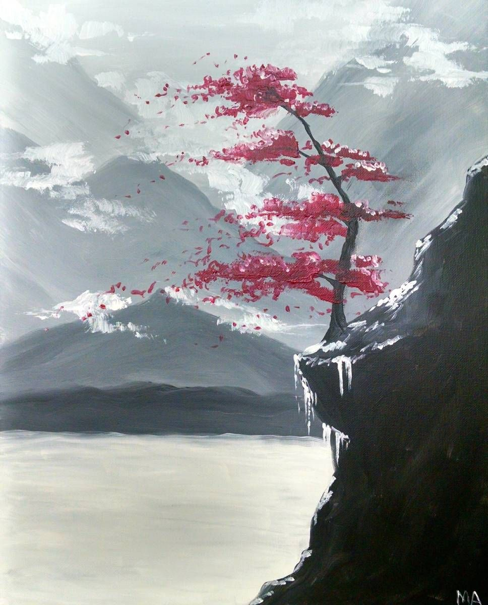 Red Tree In The Mountains Tree Painting Canvas Tree Painting