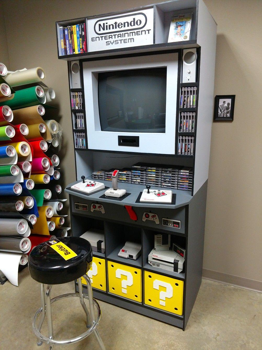 Wood Nintendo Nes Crt Tv Arcade Storage Cabinet Almost