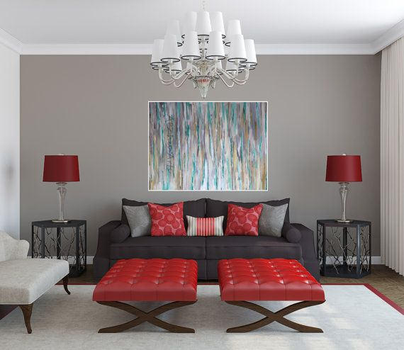 Sale Large Abstract Wall Painting Sky Original Painting Office Etsy Modern Living Room Interior Living Room Grey Living Room Red