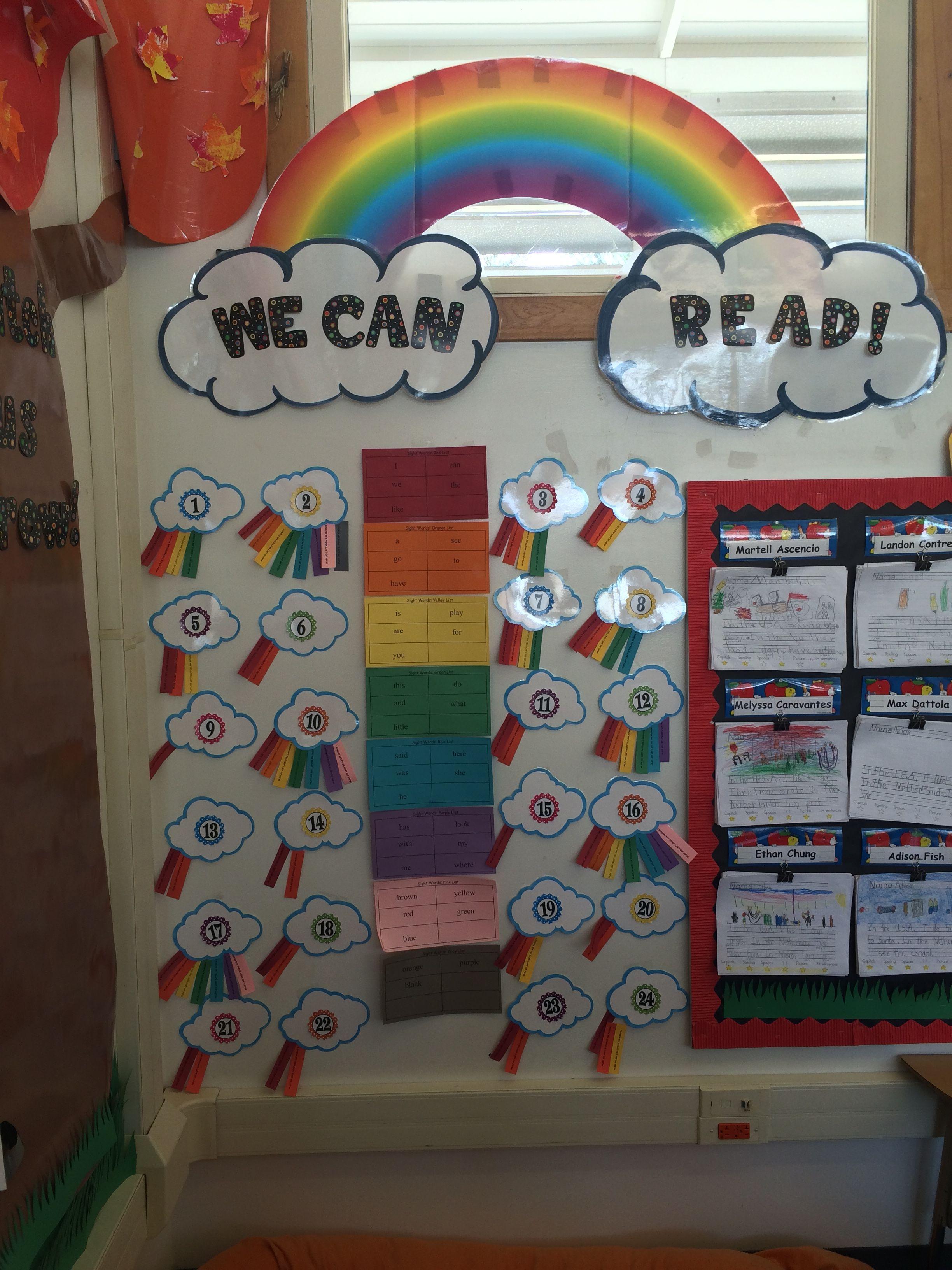 Kindergarten Sight Word Data Wall