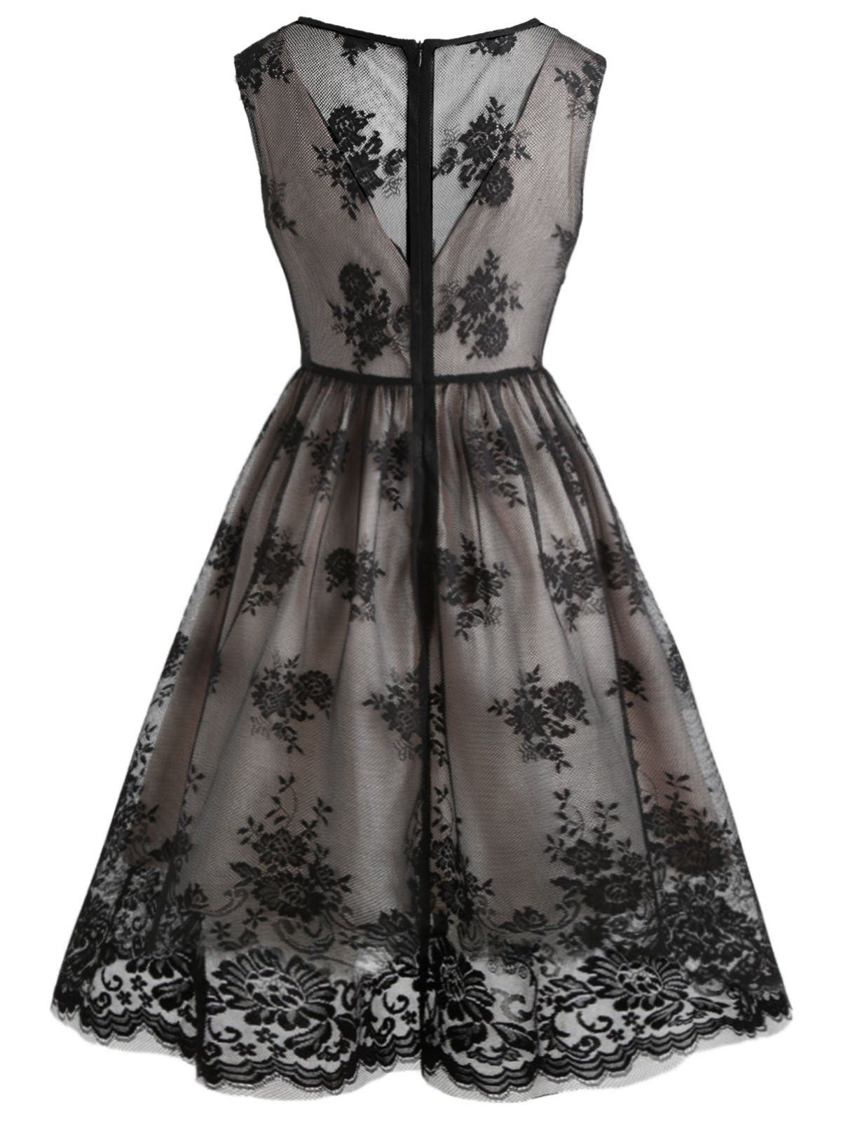 51ede9b16c35 Black 1950s Lace Floral Swing Dress – Retro Stage - Chic Vintage Dresses  and Accessories