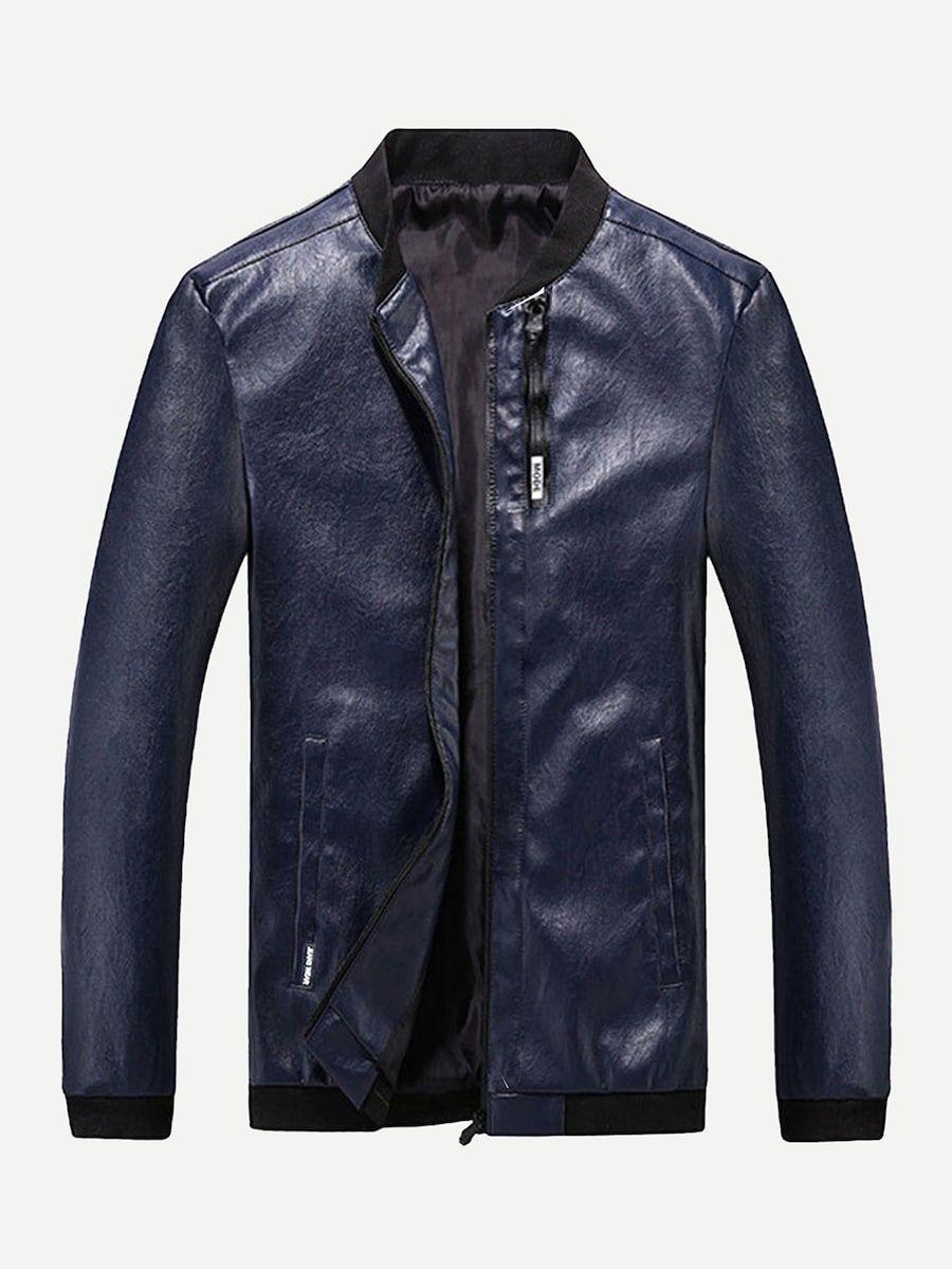 Men Zip Up PU Jacket SHEIN(SHEINSIDE) Pu jacket