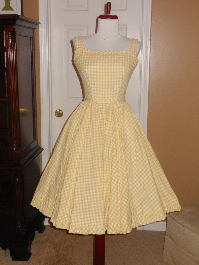 Vintage 50s LANZ Yellow Checkered Low Back Super Swing Cotton Party ...