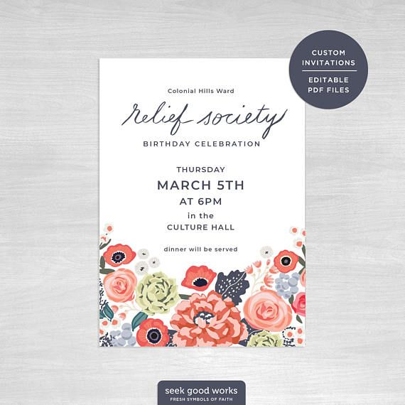 Relief Society Birthday Invitations, Editable Printables Relief