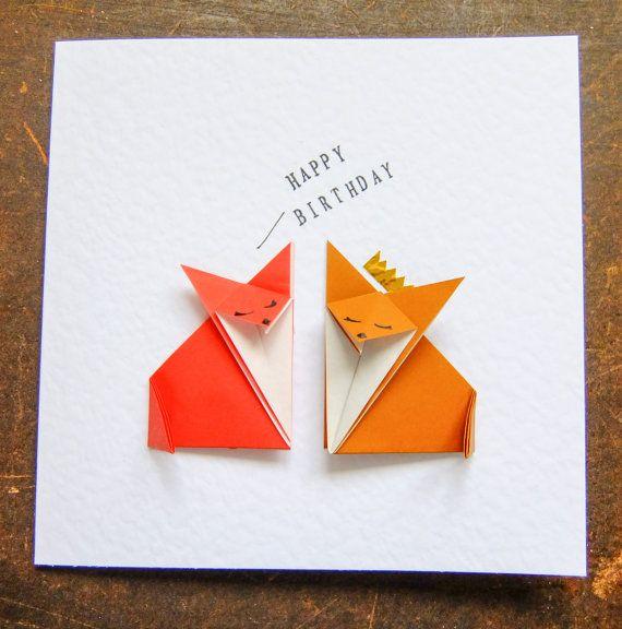 Happy Birthday Red Fox Brown Fox Origami Birthday Card Cartes