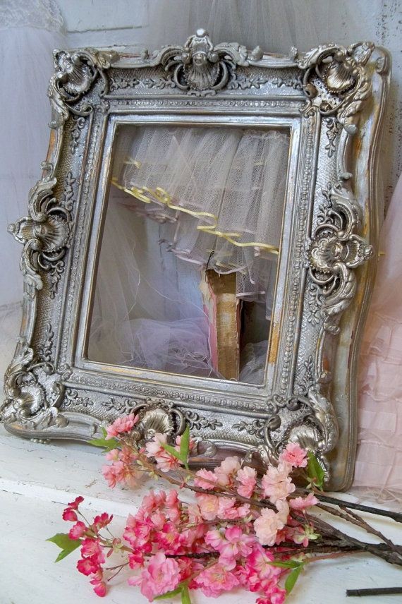 d0a62a9bfb10 Large Pink cream frame shabby chic ornate wood distressed gold ...