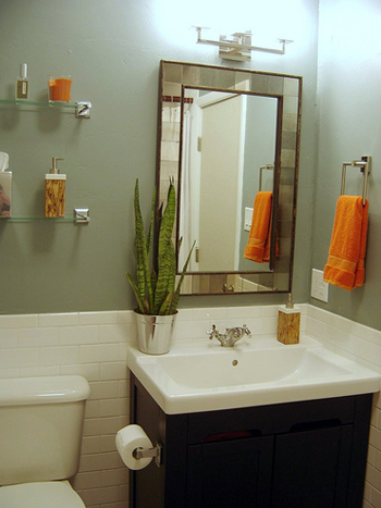 Grey Paint White Tiles Dark Vanity Orange Accents For Bath Like The Grey Green