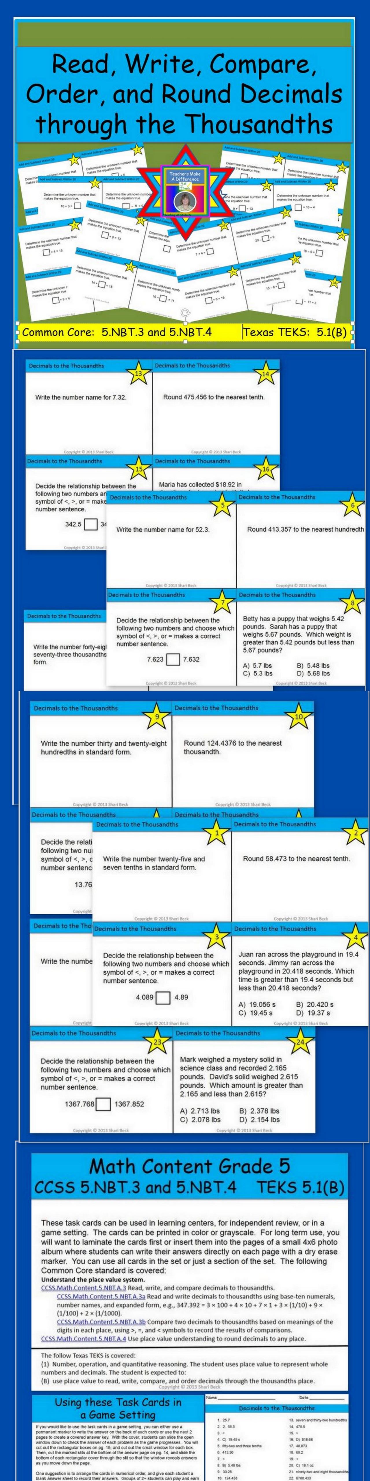 Decimal Task Cards | Sets math, Rounding decimals and Math education