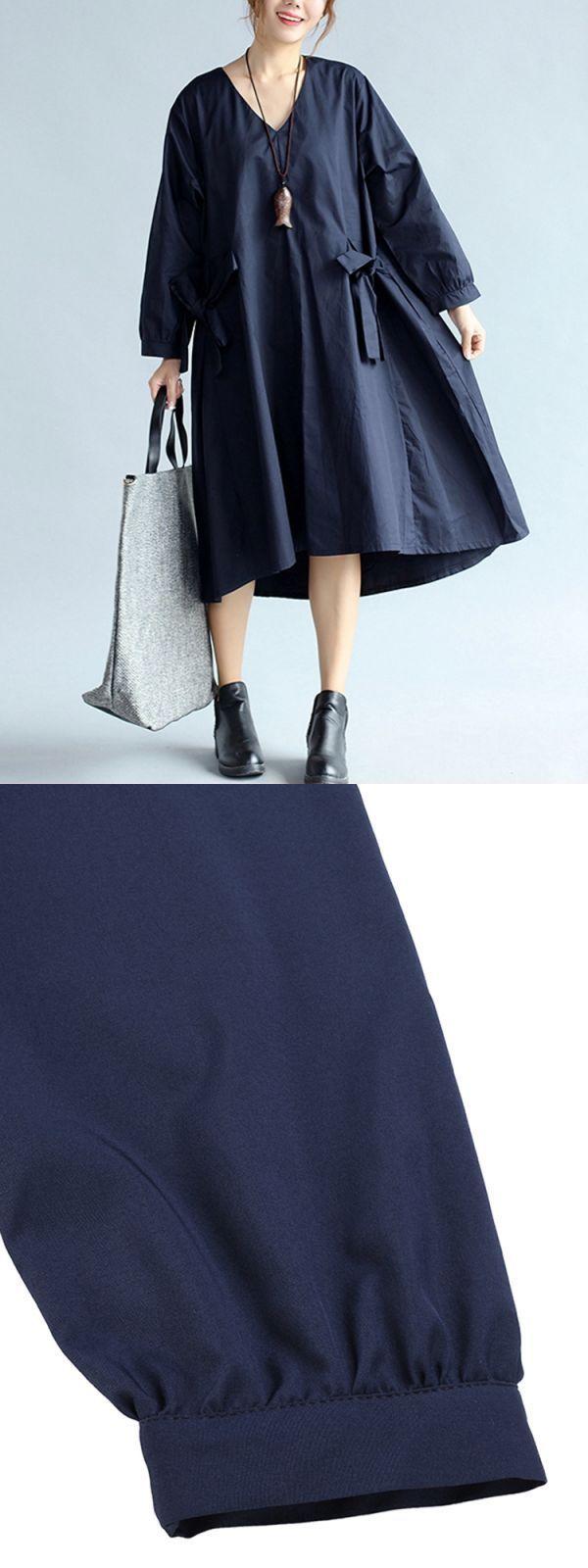 Casual vneck bowknot loose long sleeve women dress kim k casual