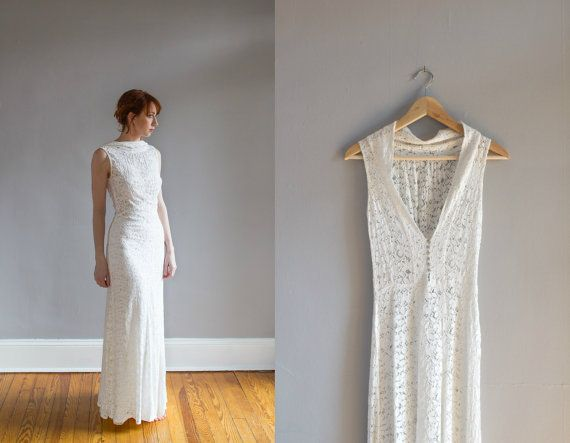 RESERVED 1930\'s Lace Wedding Gown with Bolero / Art Deco / Bias cut ...