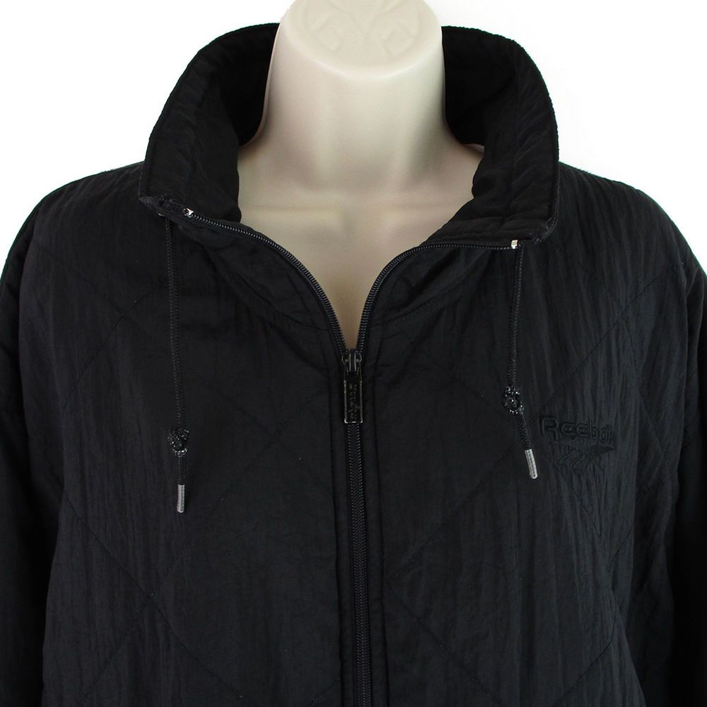9a0b914bfc90f Vtg Reebok Jacket Size Medium M Womens 90s Black Puffer Quilted Bomber Coat  Zip  Reebok  Puffer  Casual