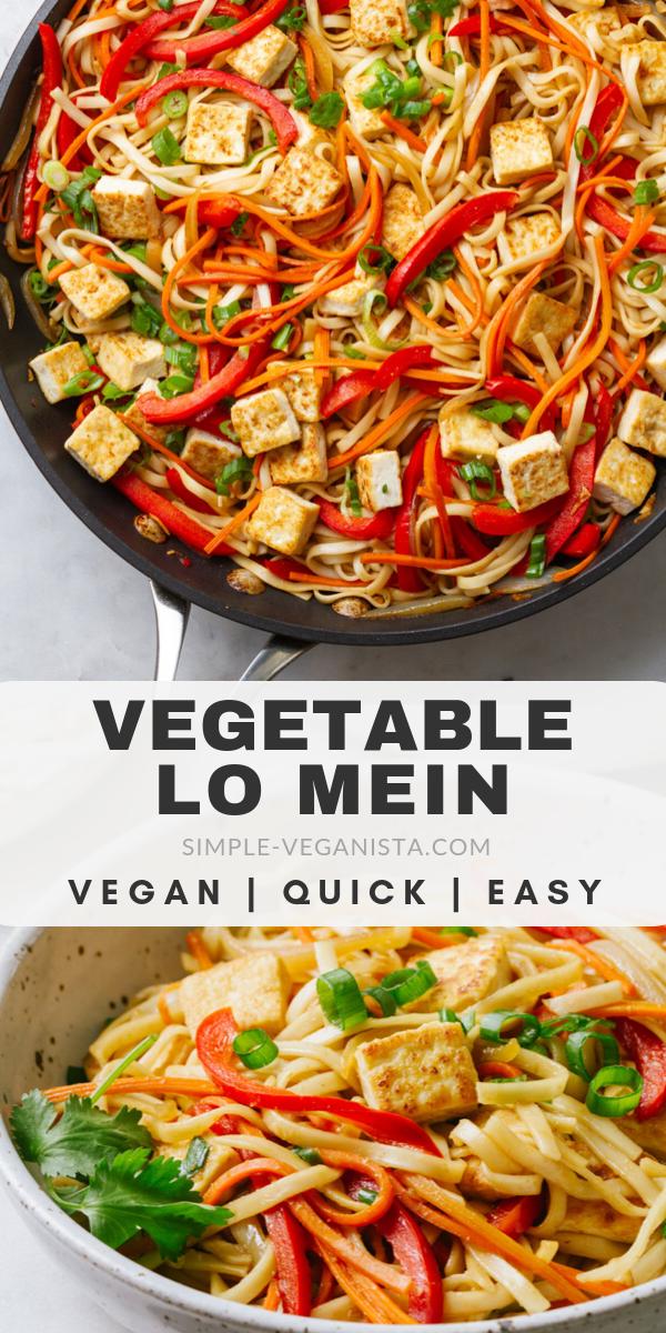 Photo of Gemüse Lo Mein mit knusprigem Tofu – 30 Minuten einfaches veganes Rezept