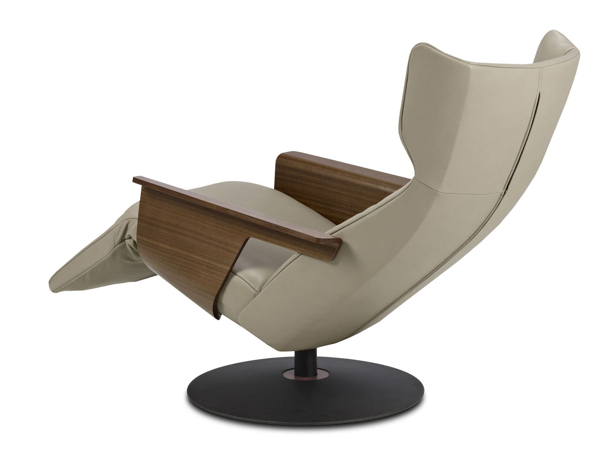 Contemporary leather recliner armchair with footstool