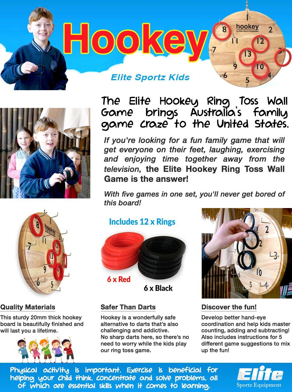Amazon Com Elite Sportz Hookey Ring Toss Game Just Hang It On A Wall And Start Playing This Beautifully Finished Boa Games For Kids Safe Games Family Games