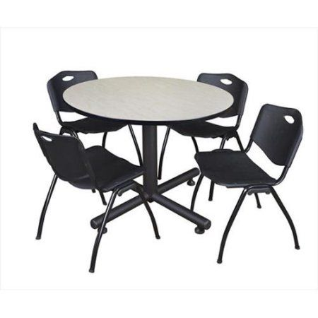 Kobe Inch Maple Round Breakroom Table And M Stack Chairs - Break room table and chair sets