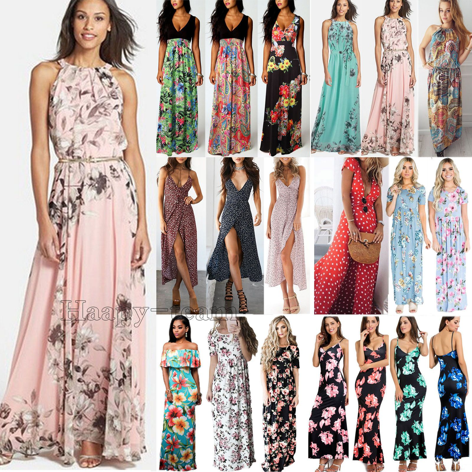 ffdb4f42db007 Women Boho Floral Long Maxi Dress Cocktail Party Evening Summer Beach  Sundress | eBay