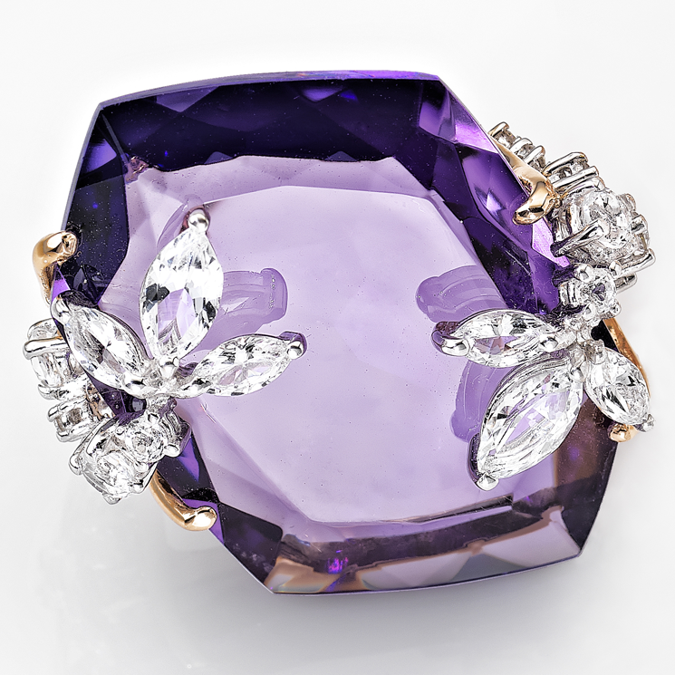 'MOON COLLECTION RING' by Falcinelli  Amethyst, diamond and rose gold ring, from Iryna