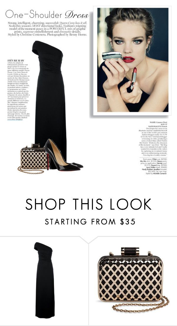 """One-Shoulder Dress"" by katsin90 ❤ liked on Polyvore featuring Avenue, Dsquared2, Tevolio, Christian Louboutin and Anja"