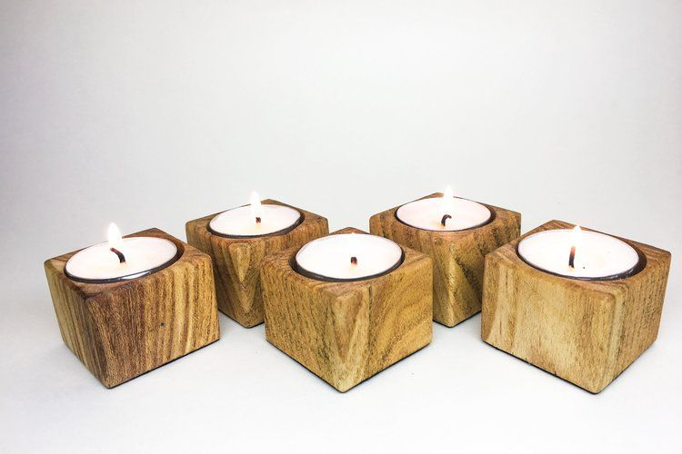 Mini Cube Wooden Tea Light Candle Holders Www Rootedwoodworking Com Diy Candle Holders Wooden Tealight Candle Holders Tea Light Candle