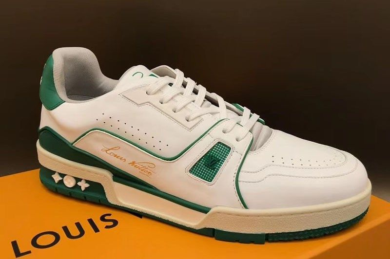 where to buy best wholesaler buy cheap Louis Vuitton 1A54HS LV Trainer Sneaker and Shoes Green Calf ...