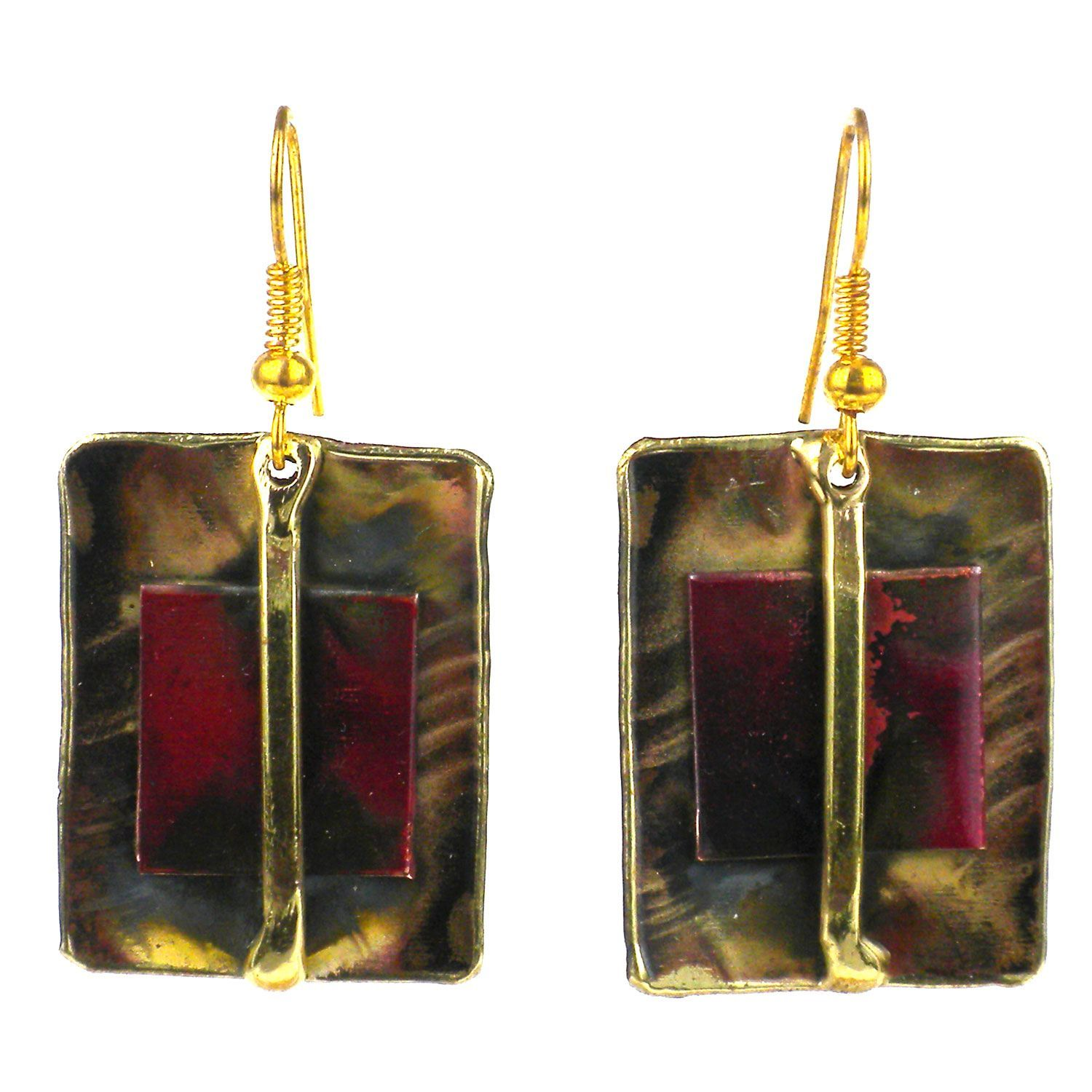 Global Crafts Handcrafted Square on Square and Earrings