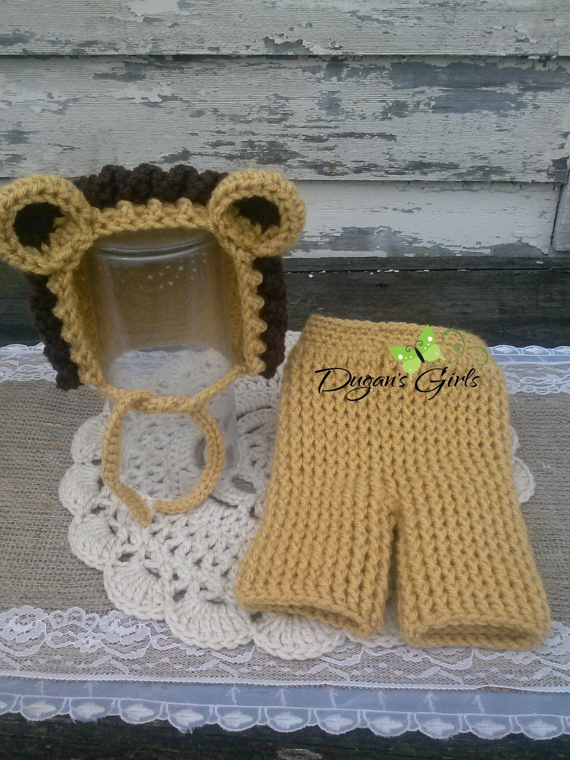 Crochet by Dugan's Girls {Little Lion Bonnet & Pant set}