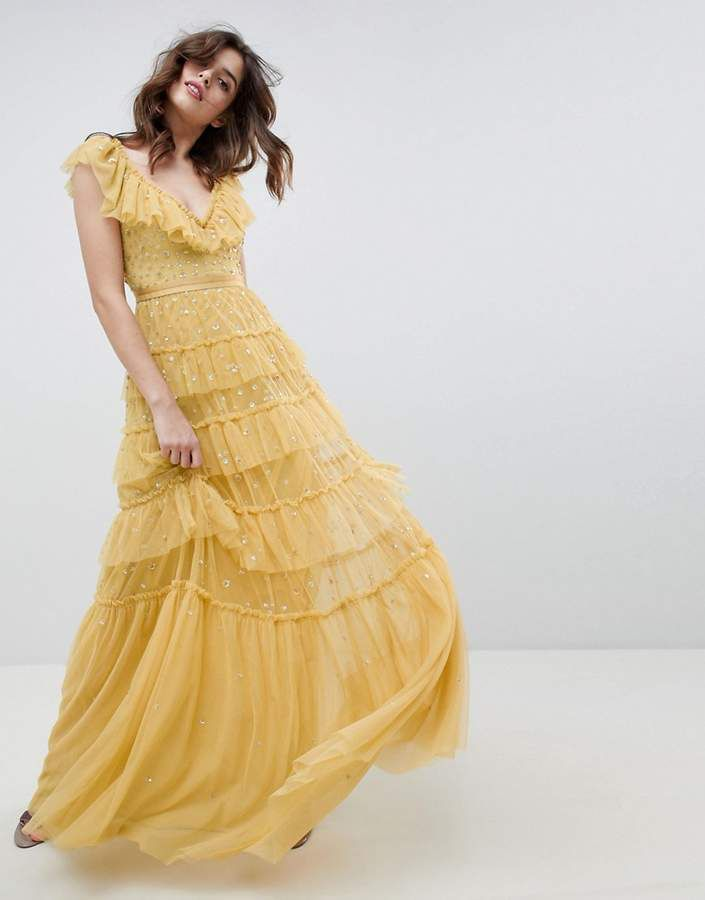 layered maxi dress with ruffle neck detail in sunflower - Sunflower Needle & Thread Cheap Sale Best Shopping Online Clearance Discount Visa Payment Big Discount Cheap Order 0tMmkq8tS