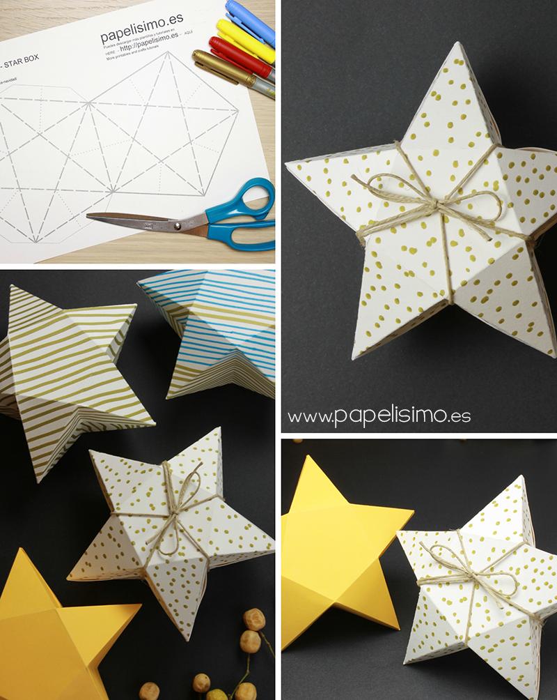 caja regalo de cartulina facil con forma de estrella plantilla ...
