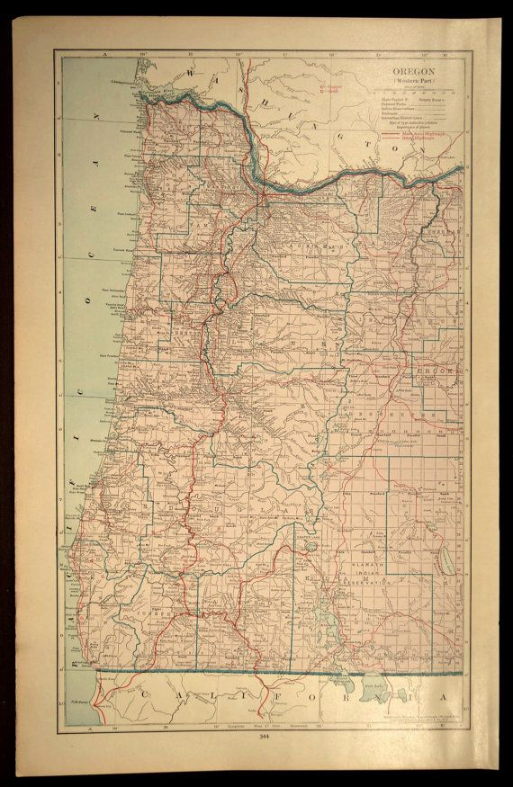 Oregon Coast Map Oregon Road Map LARGE Western Wall Art | Oregon ...