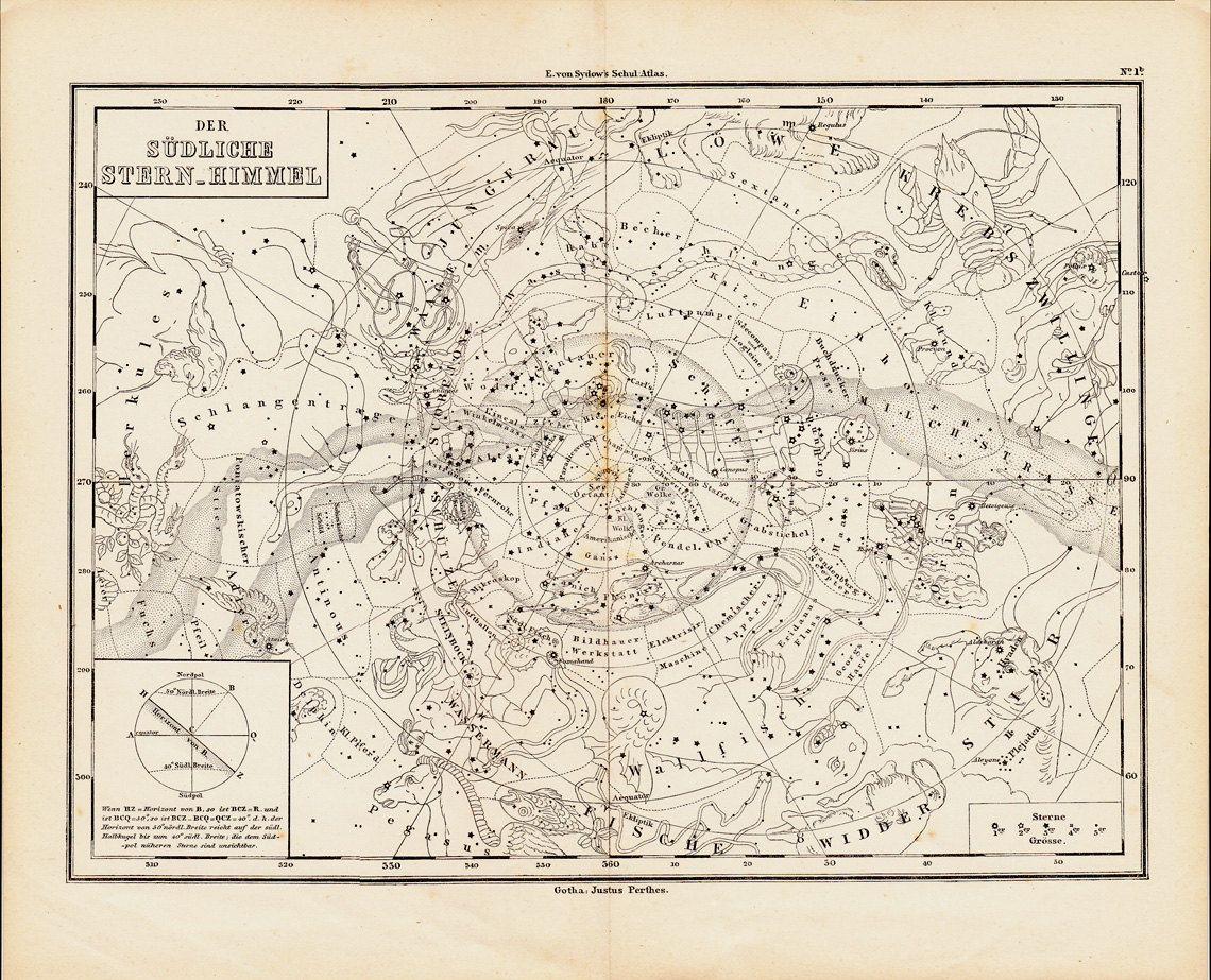 1873antiguaastrologacartagrabadosurportwocatsantiqueprints 1873 antique astrology chart engraving southern starry sky signs of the zodiac original antique print nvjuhfo Gallery