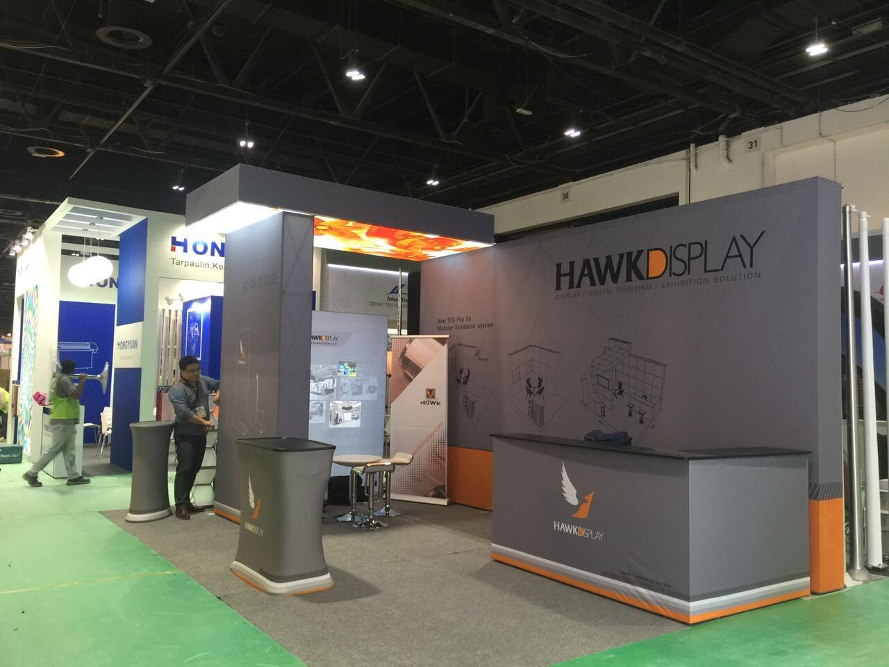 Portable Exhibition Stands Dubai : Trade show booth of hawk display in past sgi dubai