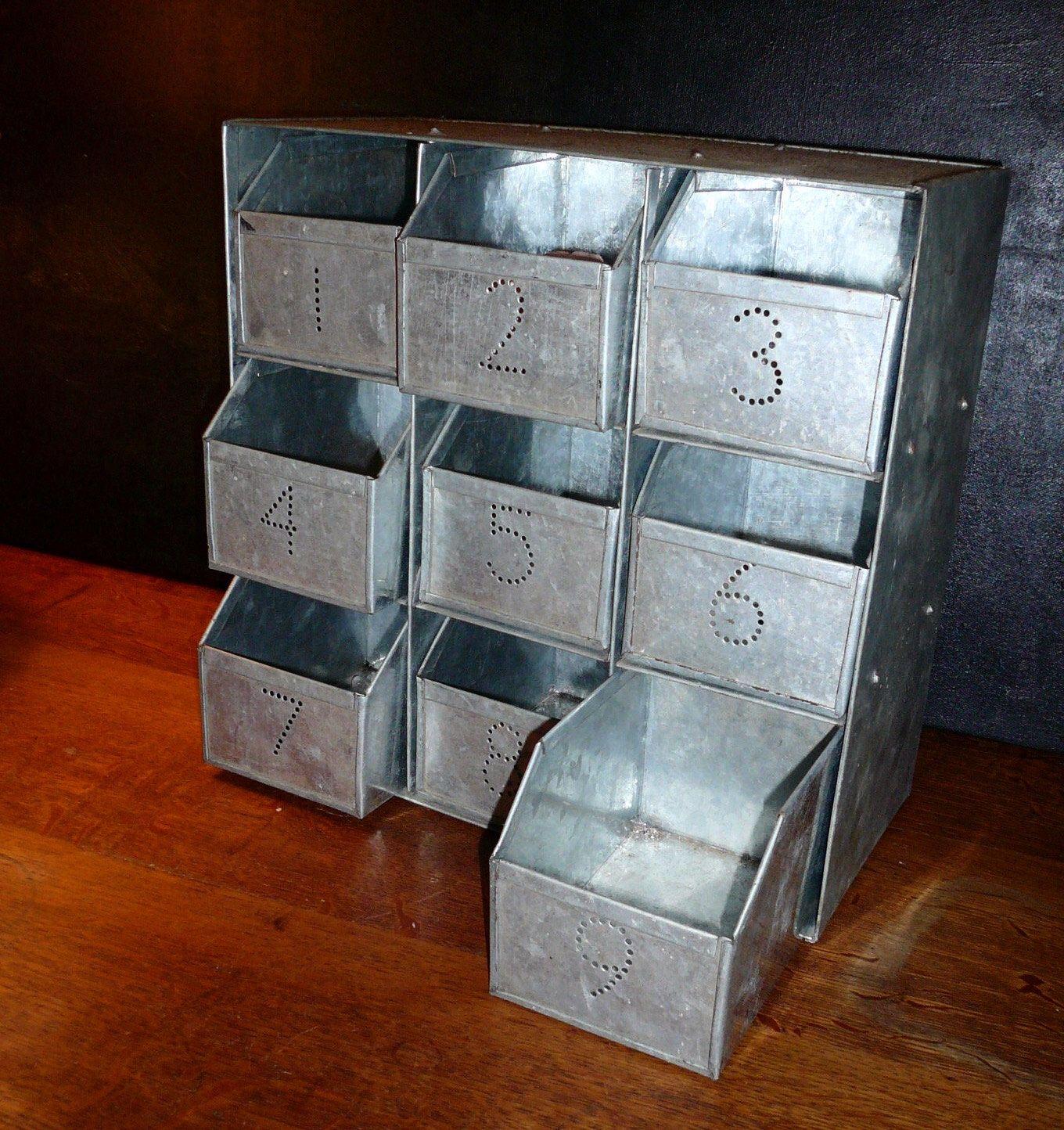 Metal Cabinet Bin Industrial Storage Industrial Cabinet Metal Parts Bin  Storage Bin Metal Box Industrial Decor Home Decor Parts Cabinet By  VintageReinvented ...