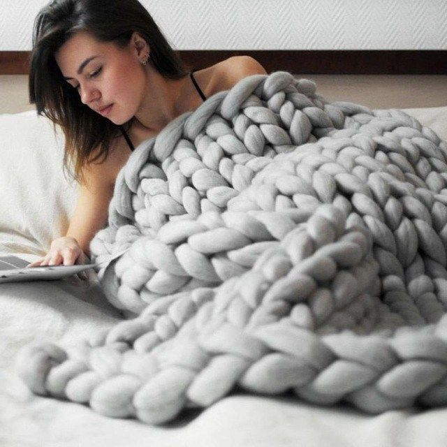 Disappear into this ultra-cozy chunky knit blanket. Perfect for those gray days, sunny days… any day really. Made of microfiber and measures 39 inches x 31 inches (100 cm x 80 cm).  #shamelesssloth #blanket #cozy #cuddle #knit